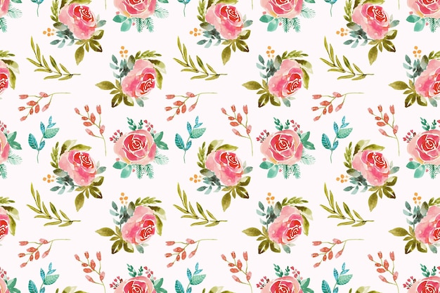 Hand painted watercolor pressed flowers pattern
