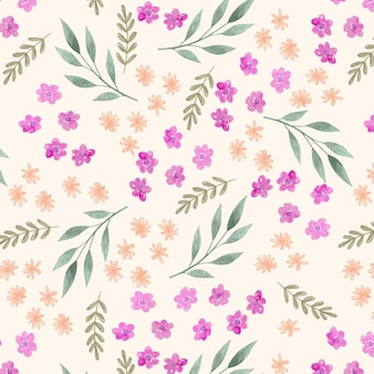 手描きの水彩押し花パターン