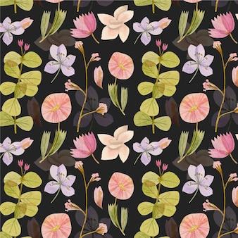 손으로 그린 수채화 누르면 꽃 패턴 무료 벡터