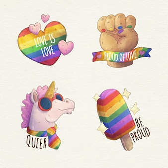 Hand painted watercolor pride day badge collection