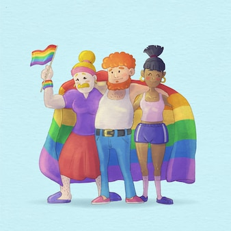 Hand painted watercolor pride day flag illustration