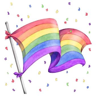 Ручная роспись акварельной иллюстрацией флага дня гордости