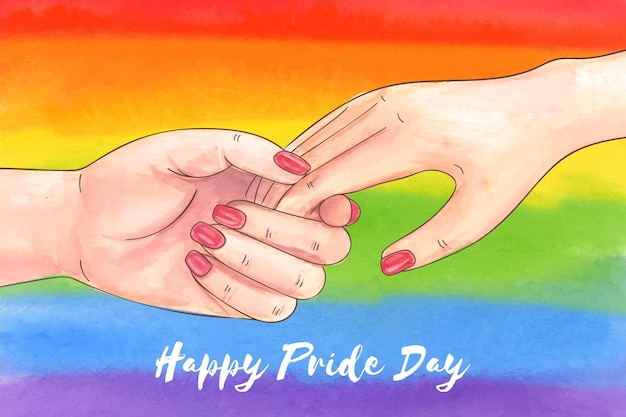 Hand painted watercolor pride day illustration