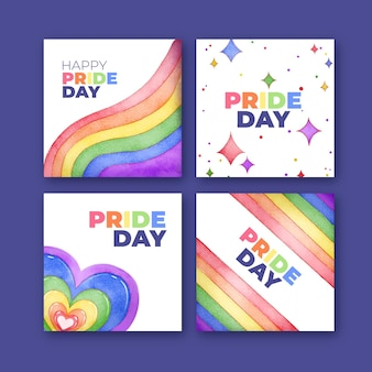 Hand painted watercolor pride day instagram posts collection
