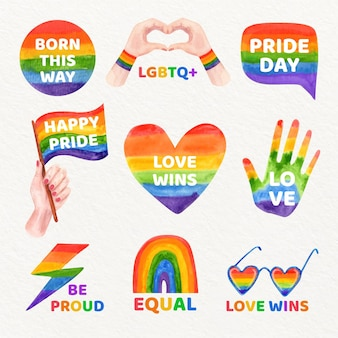 Hand painted watercolor pride day label collection