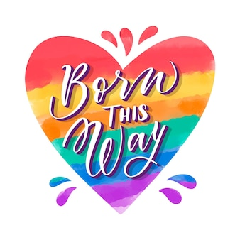Hand painted watercolor pride day lettering