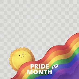Раскрашенный вручную акварельный шаблон рамки дня гордости в социальных сетях