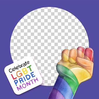 Modello di cornice per social media di giorno dell'orgoglio dell'acquerello dipinto a mano