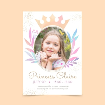 Hand painted watercolor princess birthday invitation template with photo