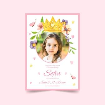 Раскрашенный вручную акварельный шаблон приглашения на день рождения принцессы с фотографией