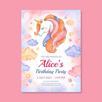 Hand painted watercolor princess birthday invitation template