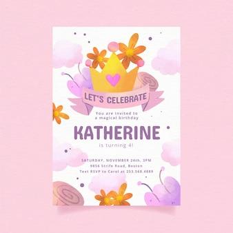 手描きの水彩姫の誕生日の招待状