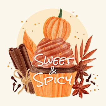 Hand painted watercolor pumpkin spice illustration