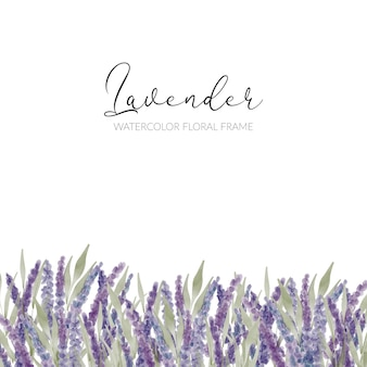 手描きの水彩紫ラベンダーの花のボーダー