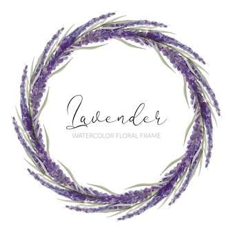 손으로 그린 수채화 보라색 라벤더 꽃 원형 프레임 테두리