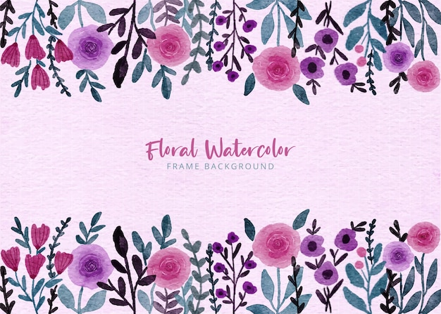 Hand painted watercolor purple and pink flower garden frame background