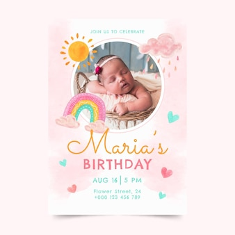 Hand painted watercolor rainbow birthday invitation template with photo