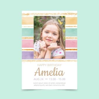 Раскрашенный вручную акварельный шаблон приглашения дня рождения радуги с фото