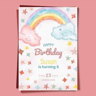 Modello dell'invito di compleanno arcobaleno dell'acquerello dipinto a mano