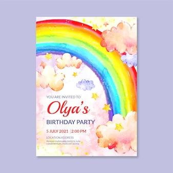 Modello di invito di compleanno arcobaleno acquerello dipinto a mano