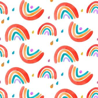 手绘水彩画彩虹图案设计