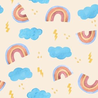 손으로 그린 수채화 무지개 패턴 디자인