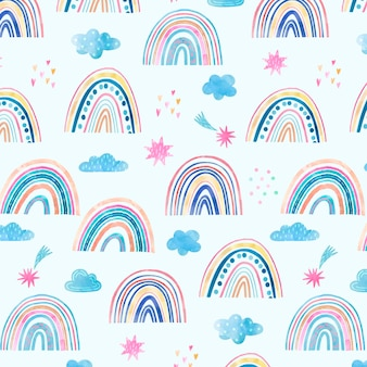 Hand painted watercolor rainbow pattern design