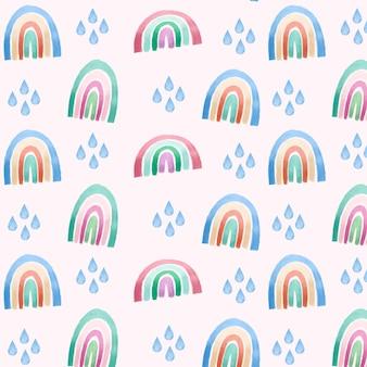손으로 그린 수채화 무지개 패턴 디자인 프리미엄 벡터