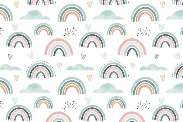 Disegno del modello arcobaleno acquerello dipinto a mano Vettore gratuito
