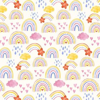 Disegno del modello arcobaleno acquerello dipinto a mano