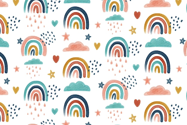 Hand painted watercolor rainbow pattern
