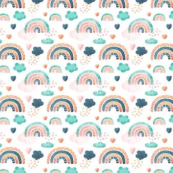 Modello arcobaleno acquerello dipinto a mano