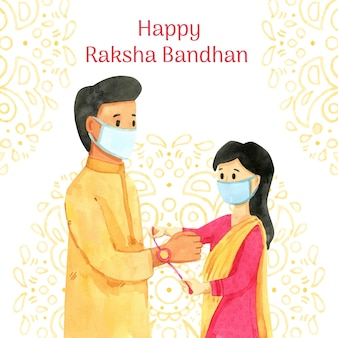 Hand painted watercolor raksha bandhan illustration