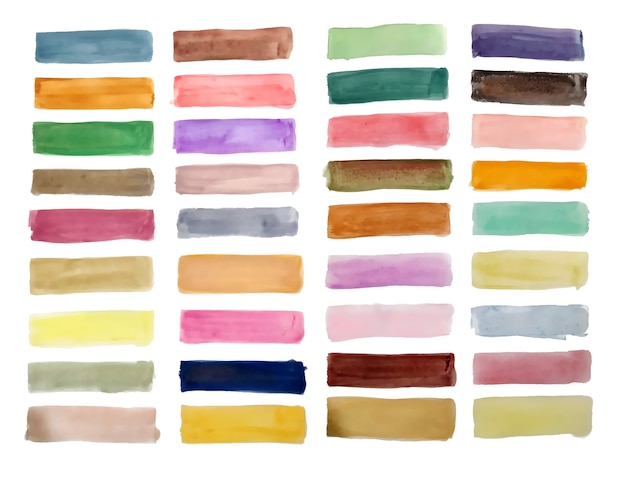 Hand painted watercolor rectangles big set design