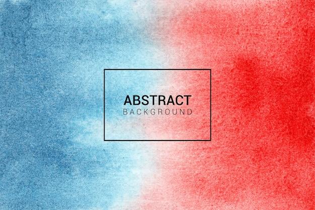 手描きの水彩画の赤と青の抽象的な背景