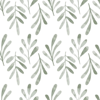Hand painted watercolor repeat pattern with greenery leaf