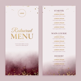 Hand painted watercolor restaurant menu template