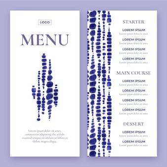 Hand painted watercolor restaurant menu