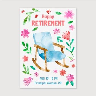 手描きの水彩画の退職グリーティングカード