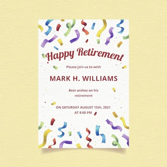Hand painted watercolor retirement greeting card