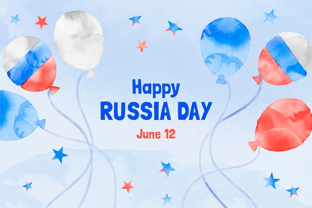 Hand painted watercolor russia day background with balloons