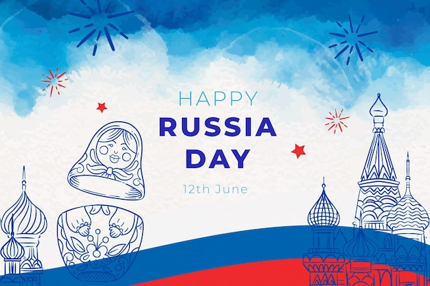 Hand painted watercolor russia day illustration