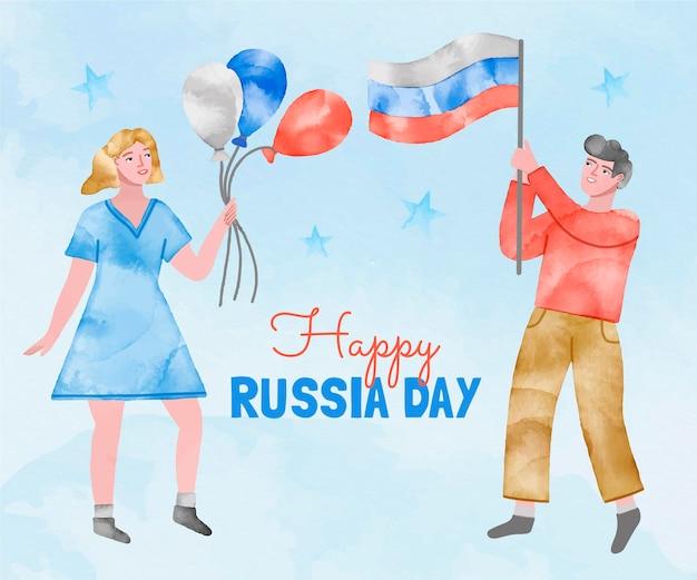 手描きの水彩画ロシアの日のイラスト