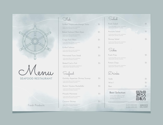 Hand painted watercolor rustic restaurant menu template