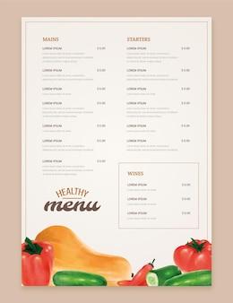 Hand painted watercolor rustic restaurant menu