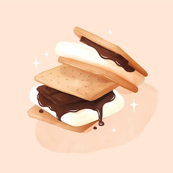 Hand painted watercolor s'more illustration