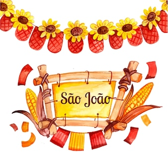 Hand painted watercolor sao joao illustration