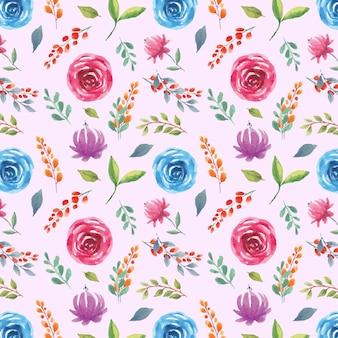 青と紫のバラの手描き水彩シームレスパターン
