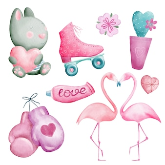 Hand painted watercolor set of cute romantic illustrations
