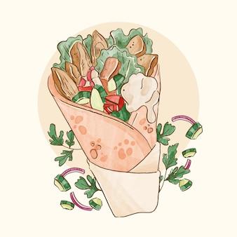 Ручная роспись акварельной иллюстрацией шаурмы